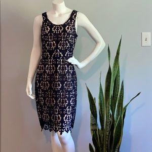 Banana Republic Midi Lace Sheath Black Dress
